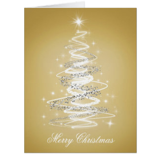 Elegant Merry Christmas with Tree in Gold Big Greeting Card