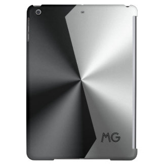 Elegant Metallic Black & Silver Geometric Design Cover For iPad Air