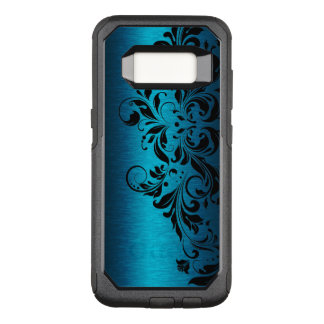 Elegant Metallic Blue Texture & Black Floral Lace OtterBox Commuter Samsung Galaxy S8 Case