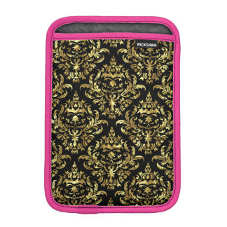 Elegant Metallic Gold & Black Floral Damasks 1a iPad Mini Sleeves