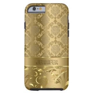 Elegant Metallic Gold Damasks & Lace Tough iPhone 6 Case