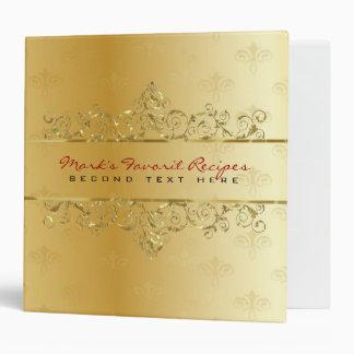 Elegant Metallic Gold Tones Swirls Frame Binder