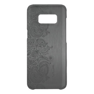 Elegant Metallic Gray & Black Paisley Lace Uncommon Samsung Galaxy S8 Case