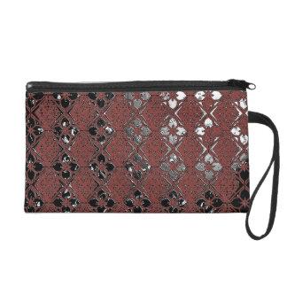 Elegant Metallic Plum Bagettes Wristlet Bag
