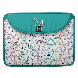 Elegant Metallic Turquoise with Music Notes Sleeve For MacBooks