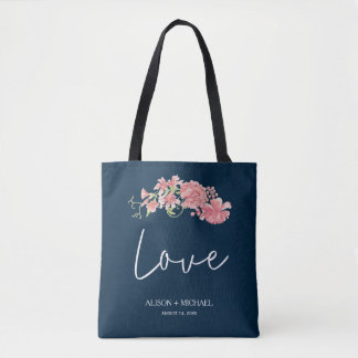 Elegant midnight navy pink peonies wedding favor tote bag
