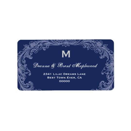 Elegant Midnight Vintage Monogram B454 Label