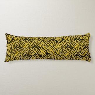 Elegant Minimal African Tribal Pattern Yellow Line Body Pillow