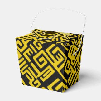 Elegant Minimal African Tribal Pattern Yellow Line Favor Box
