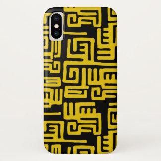 Elegant Minimal African Tribal Pattern Yellow Line iPhone X Case