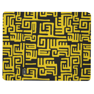 Elegant Minimal African Tribal Pattern Yellow Line Journal