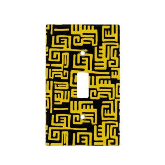 Elegant Minimal African Tribal Pattern Yellow Line Light Switch Cover