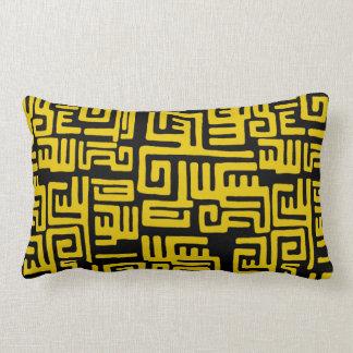 Elegant Minimal African Tribal Pattern Yellow Line Lumbar Pillow
