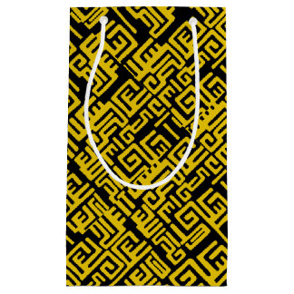 Elegant Minimal African Tribal Pattern Yellow Line Small Gift Bag