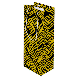 Elegant Minimal African Tribal Pattern Yellow Line Wine Gift Bag