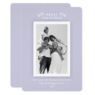 Elegant Minimal Pastel Purple Christmas Photo Card