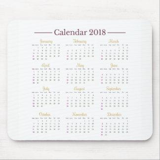 Elegant Minimalist 2018 Calendar Mousepad