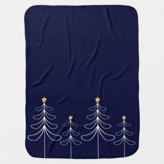 Elegant minimalist Christmas tree design blue Baby Blanket