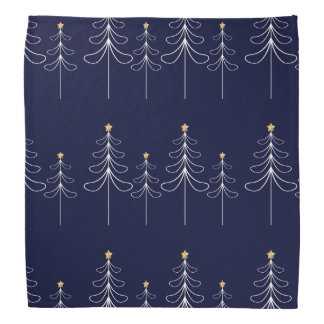 Elegant minimalist Christmas tree design blue Bandana