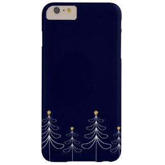 Elegant minimalist Christmas tree design blue Barely There iPhone 6 Plus Case