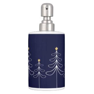 Elegant minimalist Christmas tree design blue Bathroom Set