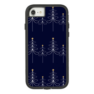 Elegant minimalist Christmas tree design blue Case-Mate Tough Extreme iPhone 8/7 Case
