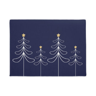 Elegant minimalist Christmas tree design blue Doormat
