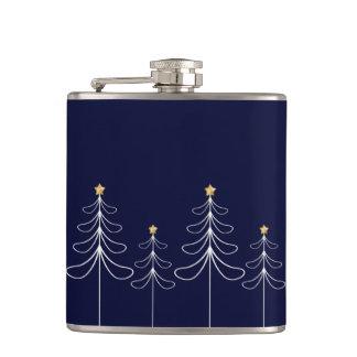 Elegant minimalist Christmas tree design blue Hip Flask