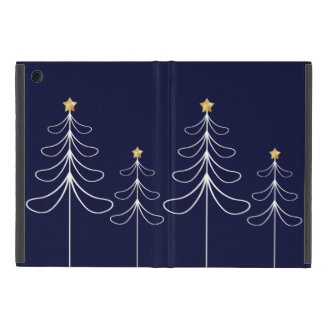 Elegant minimalist Christmas tree design blue iPad Mini Cover