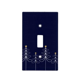 Elegant minimalist Christmas tree design blue Light Switch Cover