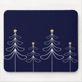 Elegant minimalist Christmas tree design blue Mouse Pad