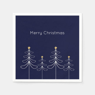 Elegant minimalist Christmas tree design blue Napkin