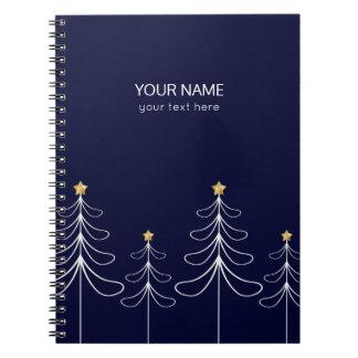 Elegant minimalist Christmas tree design blue Notebook