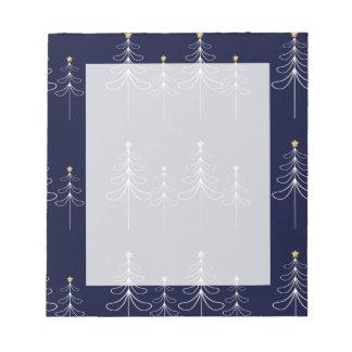 Elegant minimalist Christmas tree design blue Notepad