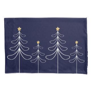 Elegant minimalist Christmas tree design blue Pillowcase