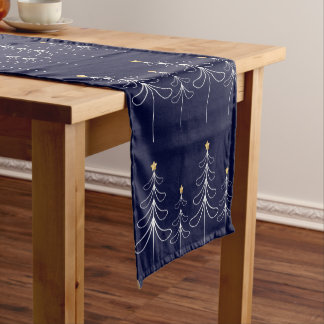 Elegant minimalist Christmas tree design blue Short Table Runner