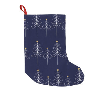 Elegant minimalist Christmas tree design blue Small Christmas Stocking