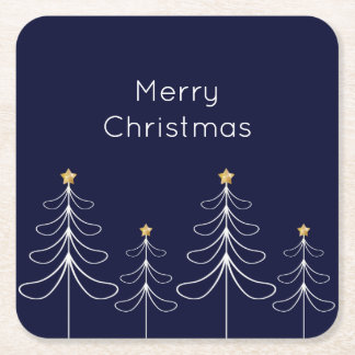 Elegant minimalist Christmas tree design blue Square Paper Coaster