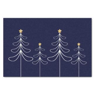 Elegant minimalist Christmas tree design blue Tissue Paper
