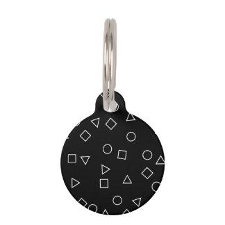 Elegant minimalist geometric pattern black white pet ID tag