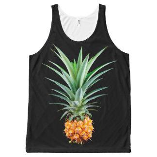 elegant minimalist pineapple | black background All-Over-Print tank top