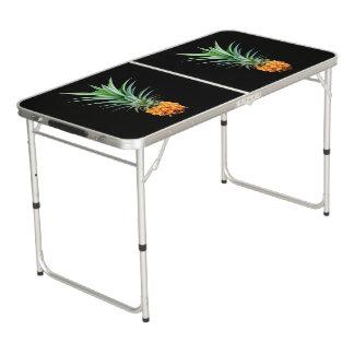 elegant minimalist pineapple | black background beer pong table