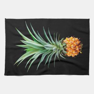 elegant minimalist pineapple | black background kitchen towel