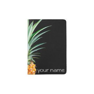 elegant minimalist pineapple | black background passport holder
