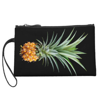 elegant minimalist pineapple | black background wristlet