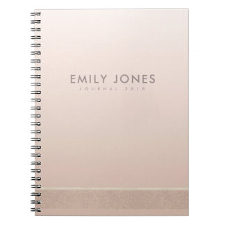 ELEGANT MINIMALIST ROSE GOLD SHIMMER PERSONALIZED NOTEBOOKS