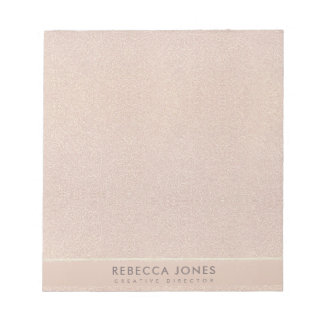 ELEGANT MINIMALIST ROSE GOLD SHIMMER PERSONALIZED NOTEPAD