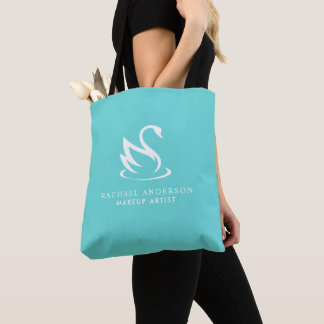 Elegant Minimalist Swan on Robin Egg Blue Tote Bag
