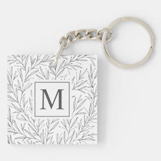 Elegant Minimalist Vines Monogram Keychain