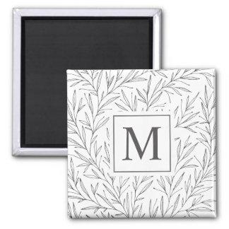 Elegant Minimalist Vines Monogram | Magnet
